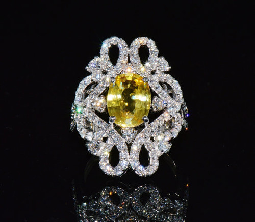 Certified Natural 5.15CTS VS F Diamond Yellow Sapphire 18K Solid Gold Ring