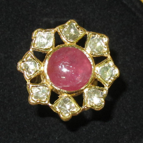 Estate 22K 18K Solid Gold Natural Ruby Diamond Enamel Cocktail Ring