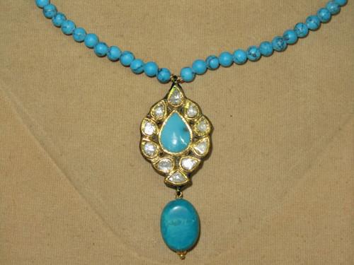 Estate 22K Solid Gold Diamond Turquoise Reversible Pendant Necklace