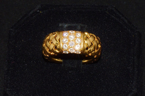 Genuine Tiffany & Co. 0.6CTS VVS F Diamond 18K Solid Gold Weave Marrakesh Eternity Band Ring