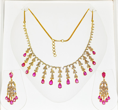 Certified Natural 34CTS VS F Diamond Ruby 18K Solid Gold Chandelier Necklace Earrings Set