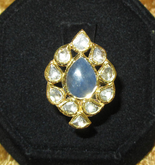 Estate 23K 18K Solid Gold Natural Sapphire Diamond Enamel Cocktail Ring