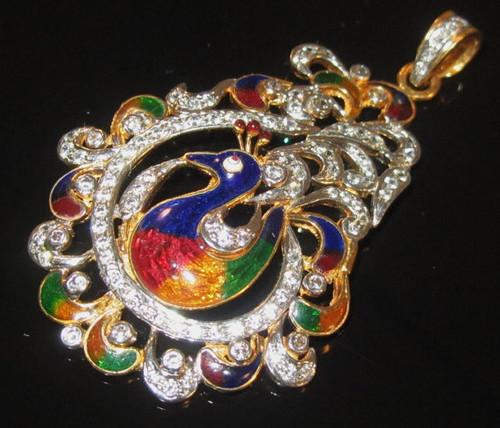 Gorgeous 22K Solid Gold Enamel Filigree Peacock Pendant