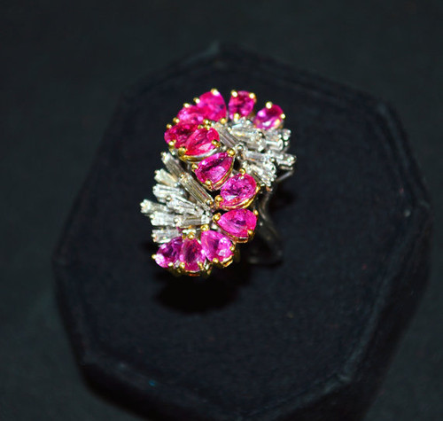 Certified Natural 8.76CTS VVS G Diamond Ruby 18K Solid Gold Cocktail Ring