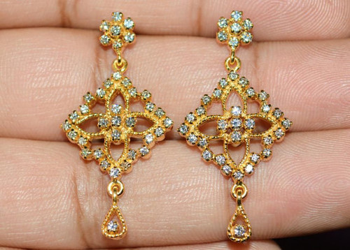 Certified Natural 1.1CTS VS G Diamond 18K Solid Gold Dangle Earrings