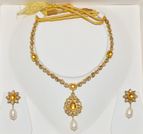 Estate 22K 18K Solid Gold 21.5CTS Citrine Pearl Diamond Enamel Necklace Earrings Set