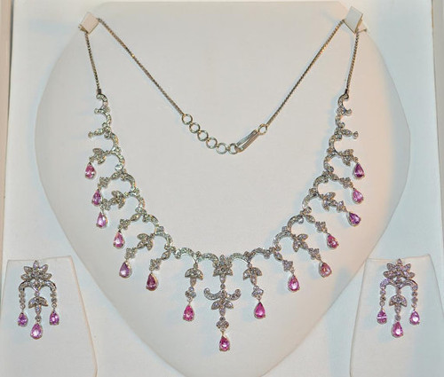Certified Natural 14.1CTS VS F Diamond Pink Sapphire 18K Solid Gold Dangle Necklace Earrings Set