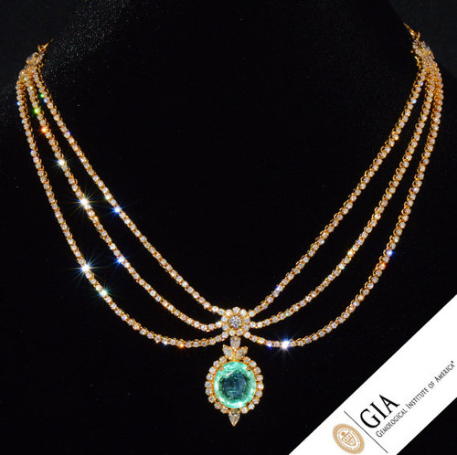 GIA Certified 20.2CTS Natural VS F Diamond Colombian Emerald 18K Solid Gold Riviera Pendant Necklace