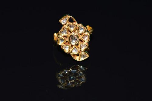 Estate 23K 18K Solid Gold Natural Diamond Enamel Floral Cocktail Ring