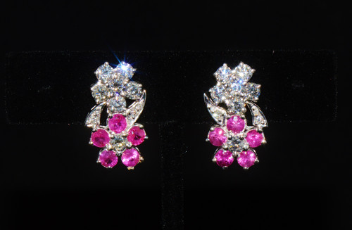 Certified Natural 4.31Cts VS F Diamond Ruby 18K Solid Gold 2-In-1 Floral Cluster & Dangle Earrings