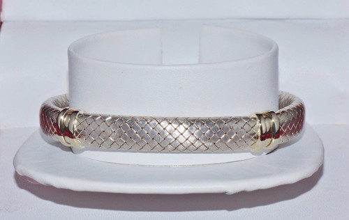 Gorgeous Italian 18K 750 Solid Gold Mesh Weave Bangle Bracelet
