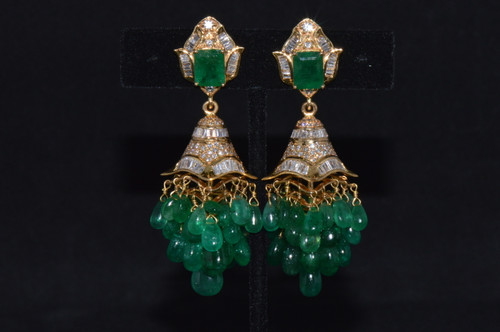 Certified Natural 101.7Cts VS F Diamond Emerald 18K Solid Gold 2-IN-1 Chandelier Dangle Earrings