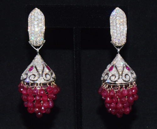 Certified Natural 117.6Cts VS F Diamond Ruby 18K Solid Gold 3-IN-1 Chandelier Dangle Cluster Earrings
