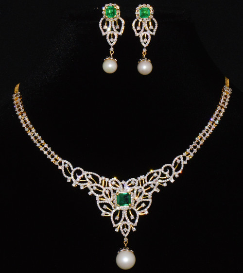 Certified Natural 32.38Cts VS F Diamond Emerald Pearl 18K Solid Gold Necklace Set