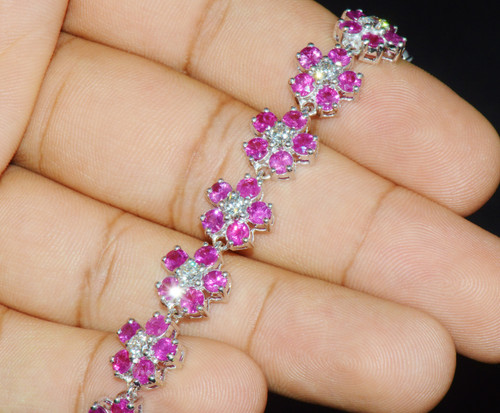 Certified Natural 18.6Ct VS F Diamond Ruby 18K Solid Gold Floral Tennis Bracelet