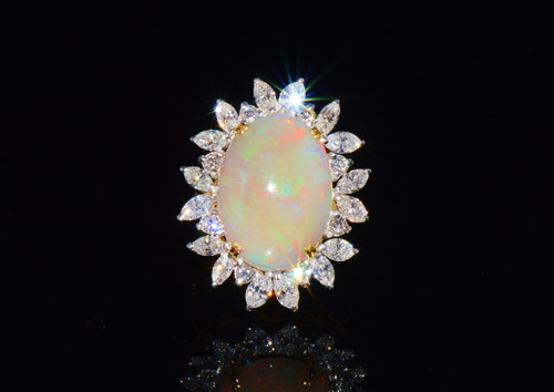 Certified Natural 8.3Cts VS F Diamond Opal 750 18K Solid Gold Cocktail Ring