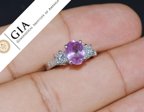 GIA Certified Natural 3.53Cts Diamond Sapphire Five Stone Platinum Ring