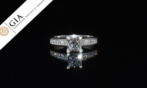 GIA Certified Natural 1.60CTS VS F Diamond Solid Platinum Engagement Ring