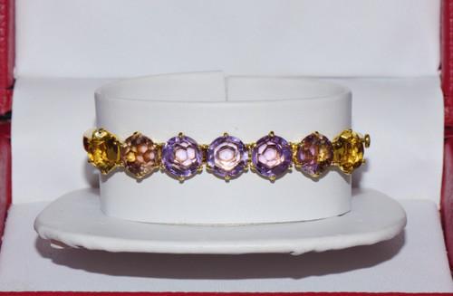 Ippolita Gemma Rock Candy Amethyst Citrine 18K Solid Gold Hinged Bangle Bracelet