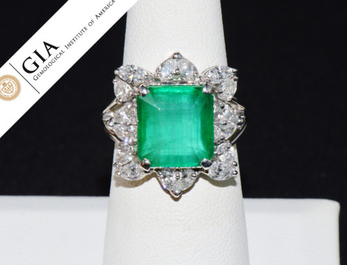 GIA Certified Natural 9.4Cts Colombian Emerald VS F Diamond 18K Solid Gold Ring