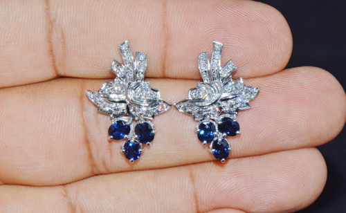 Certified Natural 3.71Cts VS F Diamond Sapphire 18K Solid Gold Cluster Earrings