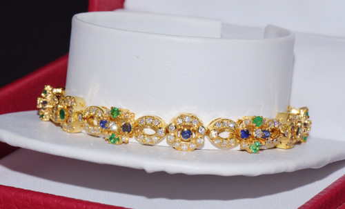 Certified Natural 4.18Cts Diamond Emerald Sapphire 18K Solid Gold Bracelet