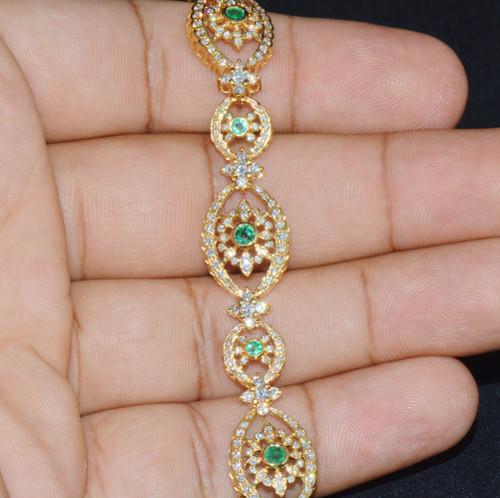 Certified Natural 5.2Cts VS F Diamond Emerald 18K Solid Gold Bracelet