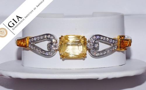 GIA Natural 11.9Cts VS F Diamond Yellow Sapphire 18K Solid Gold Bangle Bracelet