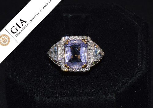 GIA Natural 5.7CTS VS F Diamond No Heat Sapphire 18K Gold Cocktail Dinner Ring