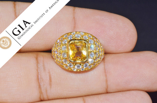 GIA Natural 5.7Cts VS Diamond Unheated Yellow Sapphire 18K Gold Bombay Dome Ring