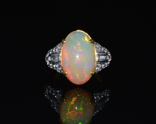 Certified Natural 6.07Cts VS F Diamond Opal 750 18K Solid Gold Cocktail Ring