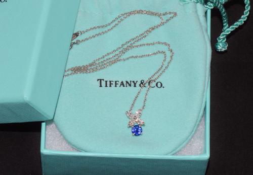 Tiffany & Co. Diamond Sapphire 950 Platinum Victoria Pendant Necklace