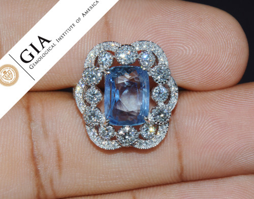GIA Natural 9.66CTS VS F Diamond No Heat Blue Sapphire 750 18K Gold Cocktail Ring