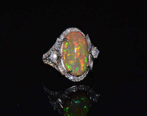 Certified Natural 6Cts VS F Diamond Opal 18K Gold Dinner Cocktail Ring