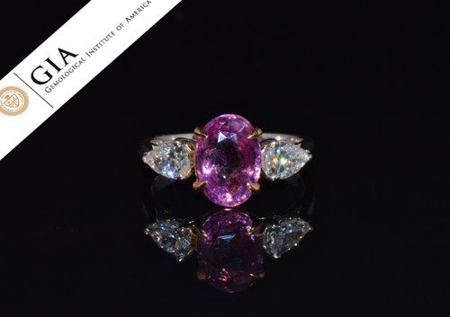 GIA Natural 3.88CTS VVS D Diamond Pink Sapphire Platinum 18K Gold Engagement Ring