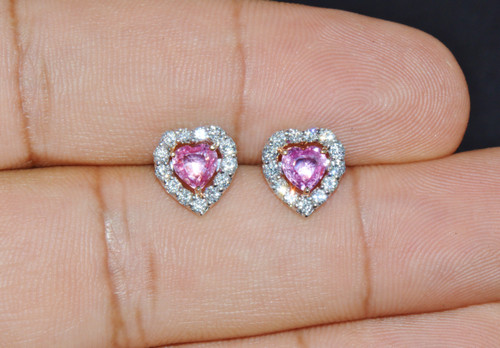 Certified Natural 1.82CTS VS F Diamond Sapphire 18K Solid Gold Heart Stud Earrings