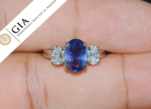 GIA Certified Natural 4.33CTS VVS E Diamond Blue Sapphire Platinum Engagement Ring