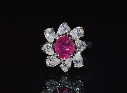 Certified Natural 3.49CTS VS F Diamond Ruby 18K Solid Gold Floral Ring