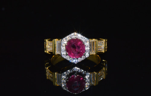 Certified Natural 3.44Cts VS F Diamond Vivid Red Ruby 18K Solid Gold Ring Band