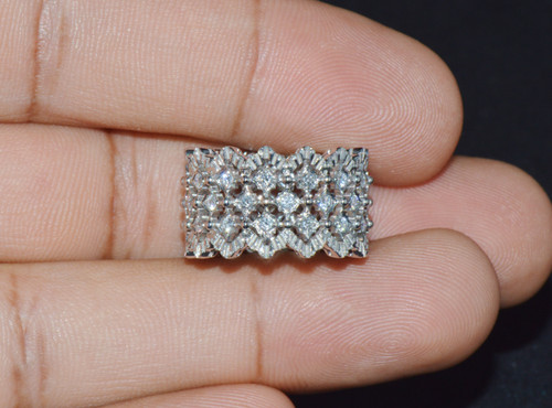 Gorgeous M Buccellati Rombi Eternelle Natural Diamond 18K White Gold Ring Band