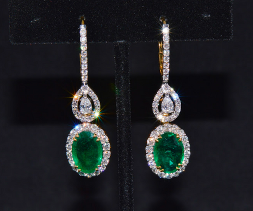 Gorgeous Natural 9.7Cts VS F Diamond Emerald 18K Solid Gold Dangle Hoop 2-IN-1 Earrings