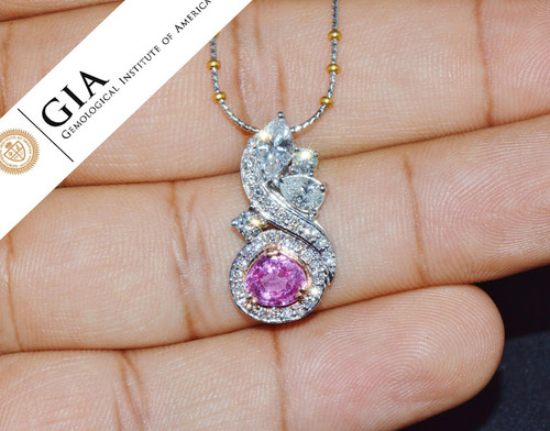 GIA Natural 2.75Cts VS F Diamond No Heat Sapphire 18K Solid Gold Pendant Necklace