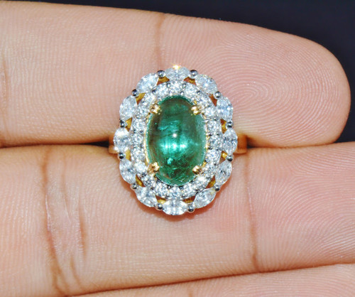 Certified Natural 6.6Cts VS F Diamond Cabochon Emerald 18K Solid Gold Ring