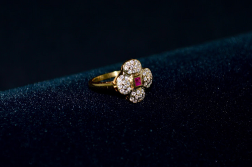 Certified Natural 0.42CTS VS F Diamond Ruby 18K Solid Gold Floral Ring