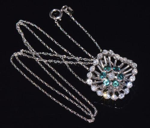 Certified Natural VS F Diamond Alexandrite Solid Platinum Gold Pendant Necklace