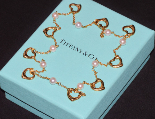 Tiffany & Co. Elsa Peretti Open Heart Pearl 750 18K Yellow Gold Station Necklace