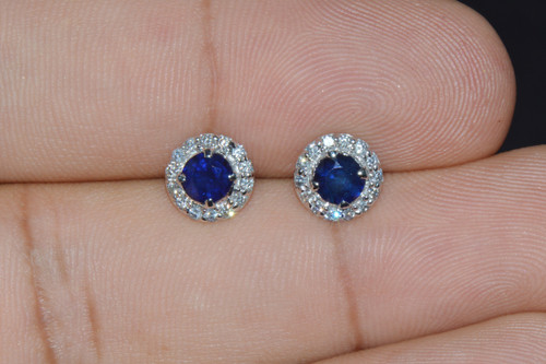 Certified Natural 1.2Cts VS F Diamond Sapphire 18K Solid Gold Stud Halo Earrings