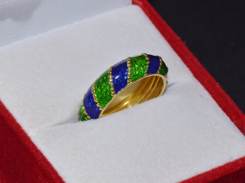Gorgeous Martine 750 18K Solid Gold Green Blue Enamel Beaded Eternity Band Ring