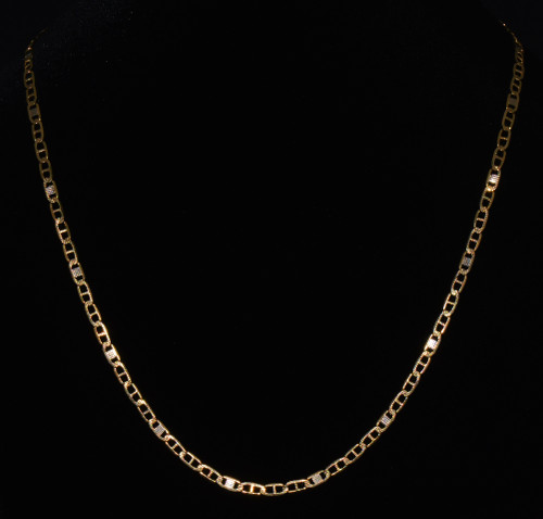 Gorgeous 750 18K Solid Gold Italian Flat Mariner Anchor Link Chain Mens Necklace