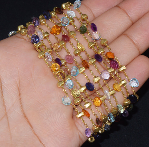 Authentic Marco Bicego 18K Solid Gold 10 Strand Paradise Gemstone Drops Bracelet